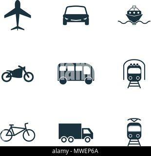 Set vector city transport icons collection in flat design. City transport, vihecles, auto for web design, presentations and mobile apps. City transport icons set on white background. - Stock Photo