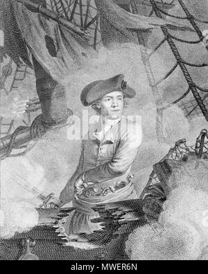 . John Paul Jones, commodore au service des Etats-Unis de l'Amérique (commodore of the United States of America) 1 print: engraving. Print shows John Paul Jones, half-length portrait, facing slightly right, standing on board ship during battle, reaching with left hand for one of several pistols at his waist, right hand holds sword. circa 1779. Guttenberg, Carl, 1743-1790, engraver. From a drawing by C. J. Notté.[2] 321 John Paul Jones2 - Stock Photo
