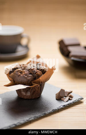 breakfast with chocolate muffins - Stock Photo