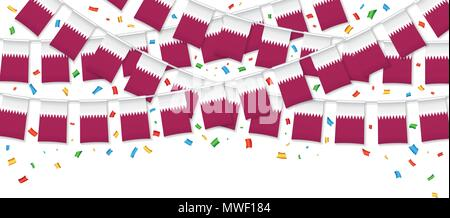 Qatar flags garland white background with confetti, Hang bunting for Qatari national Day celebration template banner, Vector illustration - Stock Photo