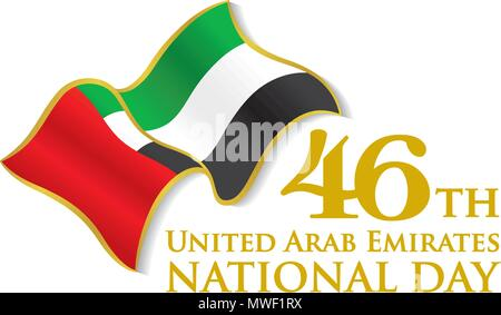 UAE 46th National Day Logo with Waving Flag, Vector typographic emblems & badge with white Background - Stock Photo