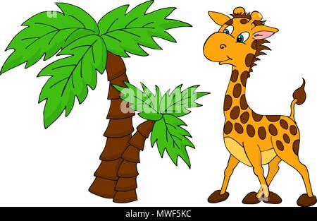 Cute Giraffe and palm tree. Vector illustration - Stock Photo