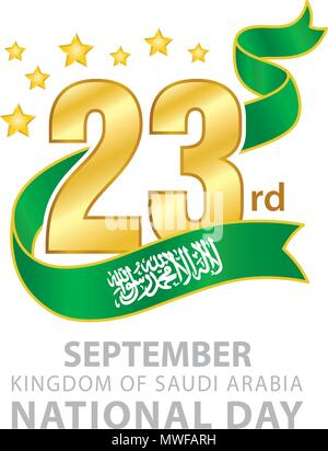 23rd September Saudi Arabia National Day Logo, Typographic emblems & badge with White Background, An inscription in English 'Kingdom of Saudi Arabia - Stock Photo