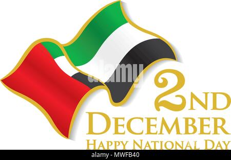 UAE 2nd December logo with waving Flag, Vector typographic emblems & badge with white Background, An inscription in English 'Happy National Day' - Stock Photo