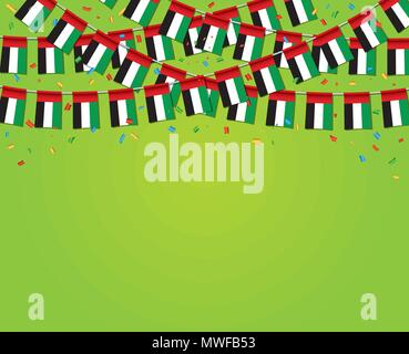 Garland UAE Flags with green Background Template Banner, Hanging Bunting Flags for UAE National day celebration. Vector illustration - Stock Photo