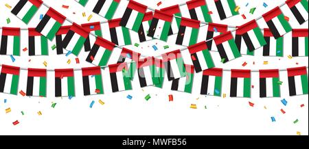 Garland UAE Flags with White Background Template, Hanging Bunting Flags for UAE National day celebration. Vector illustration - Stock Photo