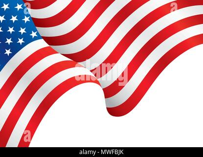 USA flag waving in the wind. Flag Background Template, vector illustration - Stock Photo
