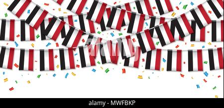 Yemen flags garland white background with confetti, Hang bunting for Yemeni,  independence Day celebration template banner, Vector illustration - Stock Photo
