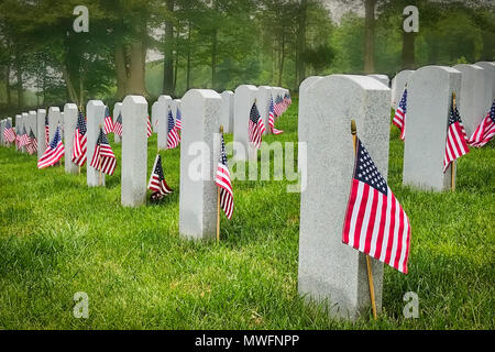 Decorated graves of US military service members at a Virginia cemetery with a misty forest in the background. - Stock Photo