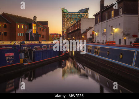 Sunset on Gas Street Basin, Birmingham - Stock Photo