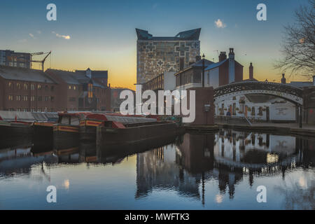 Sunrise on Gas Street Basin in Birmingham, UK - Stock Photo