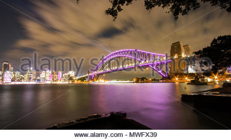 Sydney Harbour Bridge and Skyline. Illuminated by the Vivid Festival lights. 2018. - Stock Photo