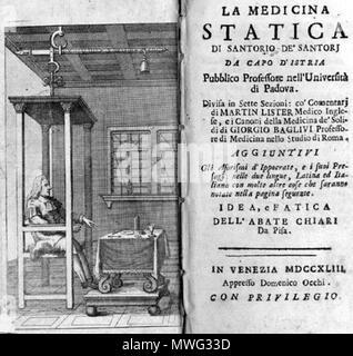 . Santorio Santorio (1561-1636): La medicina statica, 1743. January 2008. McLeod 543 Santorio Medicina Statica italian - Stock Photo