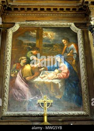 361 Le Bellay-en-Vexin (95), église Sainte-Marie-Madeleine, maître-autel, tableau de retable - Adoration des bergers - Stock Photo