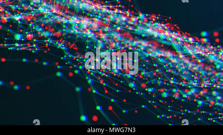 Abstract space background in glitch style - Stock Photo