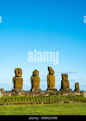 Ahu Vai Ure, Tahai Moai figures, Hanga Roa, Easter Island, Chile - Stock Photo