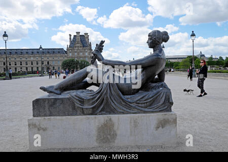 Woman walking with small dog near a female statue by French artist Aristide Maillol at the Jardin des Tuileries garden in Paris, France   KATHY DEWITT - Stock Photo