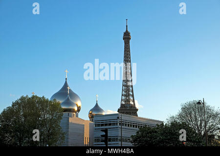 View of domes of Holy Trinity Cathedral, the Russian Orthodox Spiritual and Cultural Center and the Eiffel Tower Paris, France   KATHY DEWITT - Stock Photo