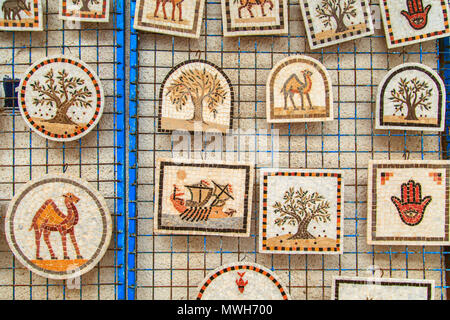 Souvenir earthenware in tunisian market, Sidi Bou Said, Tunisia. - Stock Photo