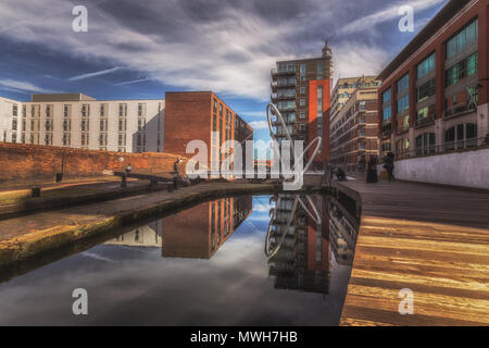 Canal Reflections in The Jewellery Quarter area of Birmingham, UK - Stock Photo