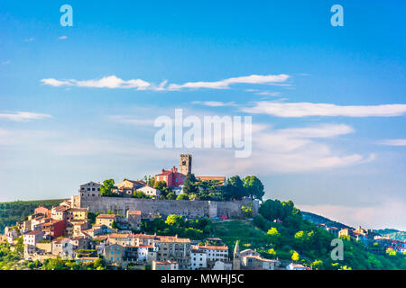 Scenic view at medieval town Motovun on marble hill, Istria Croatia. - Stock Photo