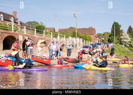 Canoeists and kayakers on the River Severn at Arley, Worcestershire, England, UK - Stock Photo