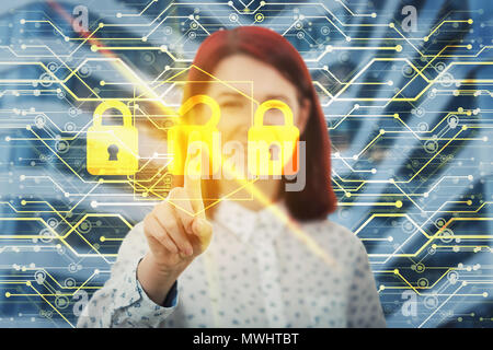 Smiling woman unlocking digital screen interface with her finger. Choose the right padlock from three options. Fingerprint scanning, future security p - Stock Photo