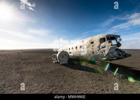 plane wreck of a DC3 at Solheimasandur - Stock Photo