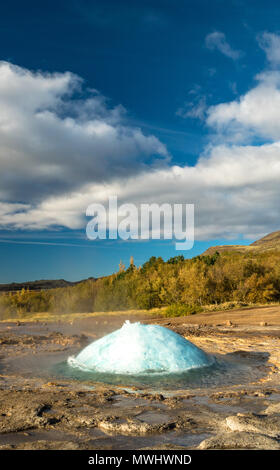 Eruption of Strokkur Geysir at Geysir, Iceland - Stock Photo