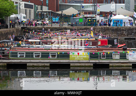 Colourful Canal boats in Salthouse Dock for the Three Festivals Tall Ships festival in May 2018 - Stock Photo
