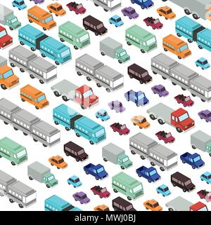 set cars and trucks isometric pattern background - Stock Photo