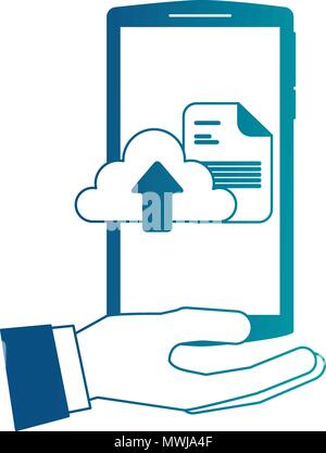 hand holding smartphone with cloud computing upload data vector illustration