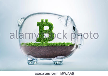 Grass growing in the shape of the Bitcoin currency symbol, inside a transparent piggy bank. - Stock Photo