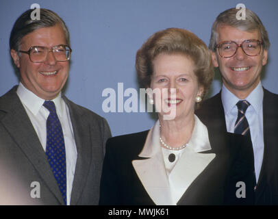 MARGARET THATCHER (1925-2013) Conservative Party leader in 1990 with John Major at right and Kenneth Baker - Stock Photo