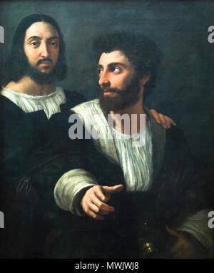 Self portrait with a friend by Raffaello Sanzio known as Raffaello (1483-1520) - Stock Photo