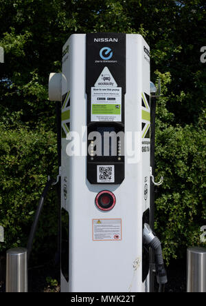Ecotricity Electric car charging point, one of uk national motorway network of car charging points - Stock Photo
