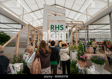 Visitors wait in line to see the RHS Chelsea Plant Of The Year 2018 at the Chelsea Flower Show in London, UK. - Stock Photo