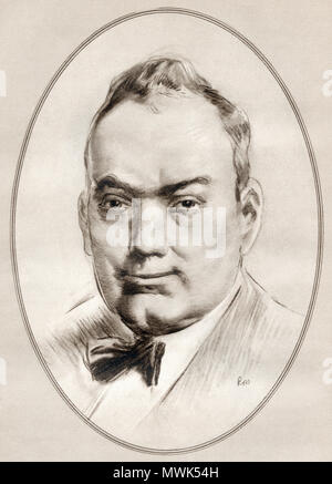Enrico Caruso, 1873 –  1921.  Italian operatic tenor.  Illustration by Gordon Ross, American artist and illustrator (1873-1946), from Living Biographies of Famous Men. - Stock Photo