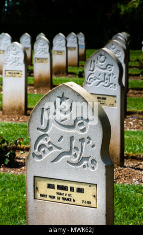 Muslim war graves in French First World War cemetery of Notre Dame de Lorette, France - Stock Photo