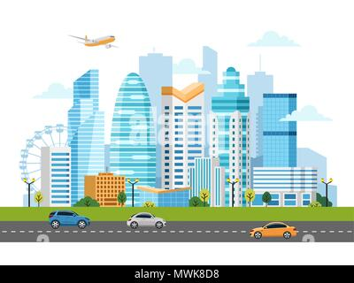 Urban landscape with buildings and skyscrapers - Stock Photo