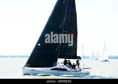 Pentecost regatta at Lake Balaton in 21. May 2018, Hungary - Stock Photo