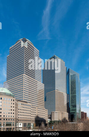 225 Liberty Street, 200 Vesey Street and 200 West Street buildings (World Financial Center), New York City, USA - Stock Photo