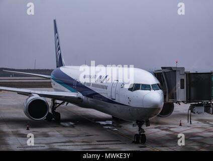 Wuhan, China - March 14, 2018: All Nippon Airlines Airbus A321 parked at Wuhan Airport - Stock Photo