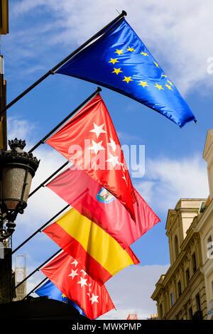 Spanish and European flags outside the Hotel Catalonia Puerta del Sol, Atocha, Madrid, Spain. May 2018 - Stock Photo