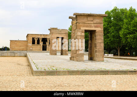 The Egyptian Temple of Debod moved from Aswan to Parque del Oeste, Madrid. Templo de Debod, Madrid, Spain. May 2018 - Stock Photo