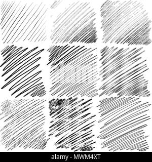 Set of diagonal hand drawn lines by pen. Vector background pattern - Stock Photo
