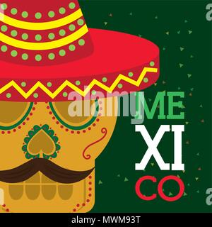 viva mexico celebration traditional skull with hat and mustache vector illustration - Stock Photo