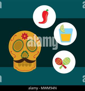 viva mexico celebration skull with mustache chili pepper tequila and maracas vector illustration - Stock Photo