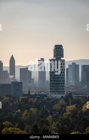 Frankfurt, Germany – April 29, 2017: Cityscape Frankfurt am Main with New Henninger Tower seen from top of Goethetower which burned down completely - Stock Photo
