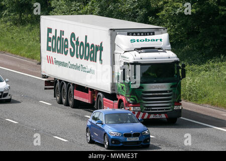 Eddie Stobart,  Scania temperature controlled distribution logistics; HGV lorry on the M6 motorway, UK - Stock Photo